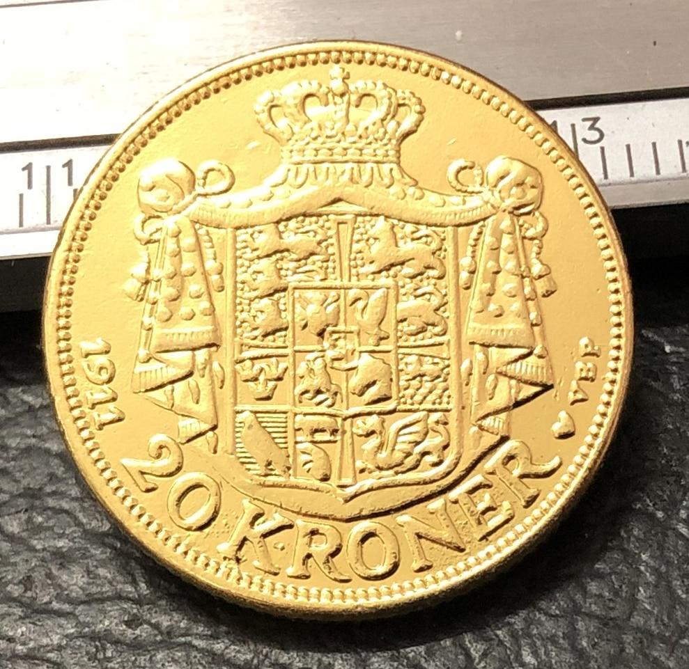 1911 Дания 20 крон-Фредерик 8 22 K Позолоченные Имитация монеты