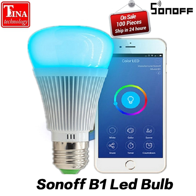 Sonoff B1 Led Bulb Dimmer Wifi Smart Light Bulbs Remote Control Switch Color Changing Works With Alexa