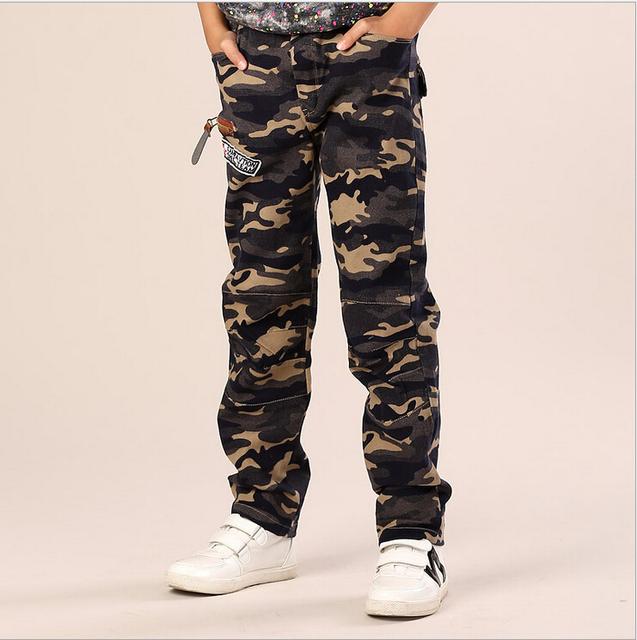 Roupas de outono 2015 nova primavera calças de algodão 7 8 9 10 11 12 anos crianças calças de camuflagem para varejo