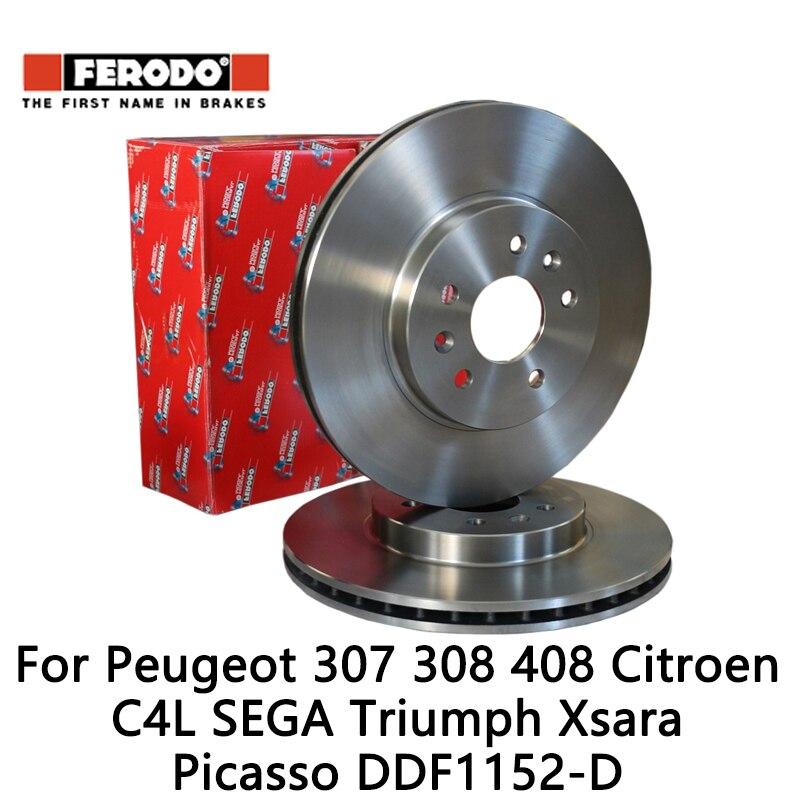 2pcs/lot Ferodo Car Front Brake Disc For Peugeot 307 308 408 Citroen C4 SEGA Triumph Xsara Picasso DDF1152-D 2pcs lot ferodo car front brake disc for volkswagen polo 1 4 1 6 lavida bora golf 4 ddf929 d