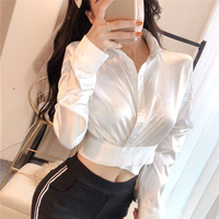 Office Ladies Tops And Blouses 2019 New Fashion Autumn Elegant Satin Blouse Women Long Sleeve Notched Collar Button Up Tops