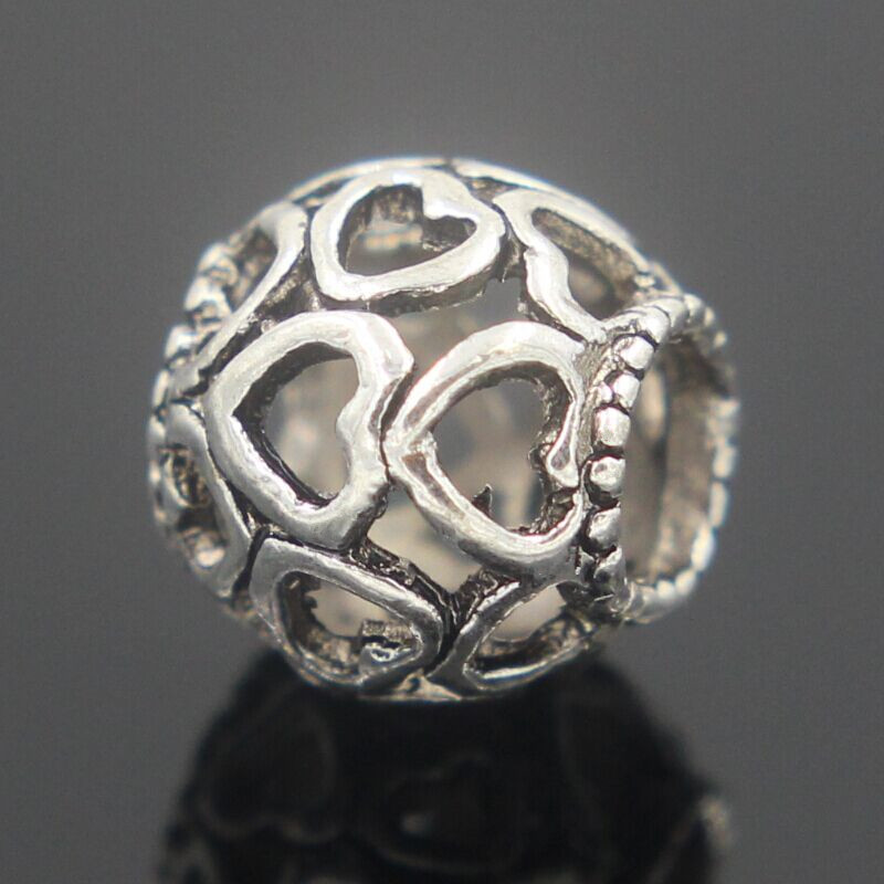 New Round Heart Silver Hole Loose Ancient Original European Beads ...