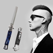 1pcs Automatic Stainless Steel Combs Foldable Knife Brushes Hair Trimmer Comb Brush Accessories butterfly Mens Pocket Knife Comb