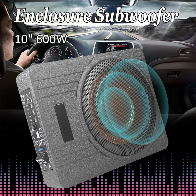 10 Inch 600W Car Under Seat Subwoofer Speaker Vehicle Super Slim Active Sub Amplifier Auto