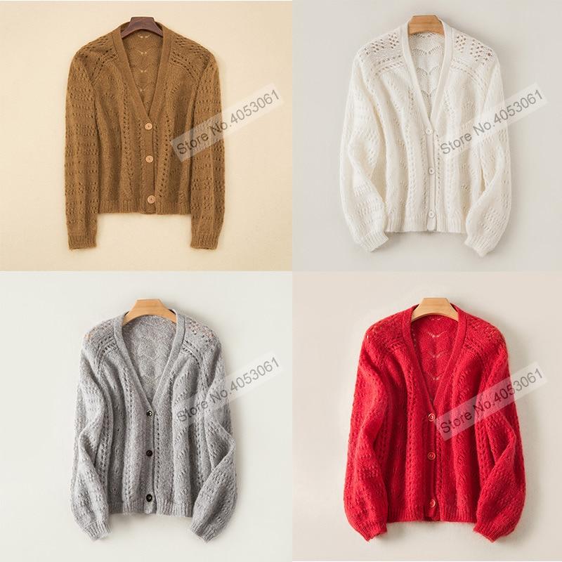 Wełna moher mieszanka sweter z dekoltem w kształcie litery V drążą Knitting sweter Top kobiety szary sweter z dzianiny z przodu, zapinana na guziki i długie rękawy w Swetry rozpinane od Odzież damska na  Grupa 2