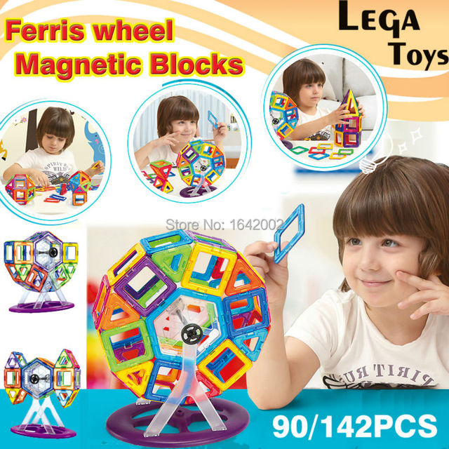 90/142PCS Magnetic Building Blocks Educational Toys For Children Includes Wheels for Building Cars and a Ferris Wheel Model Kits