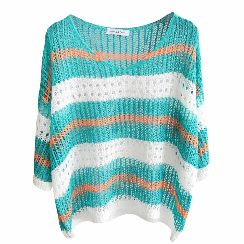 Zanzea блузки женские 2019 Camisas Mujer модные женские топы вязание полосой половина рукава Солнцезащитная рубашка Досуг шифоновая блузка