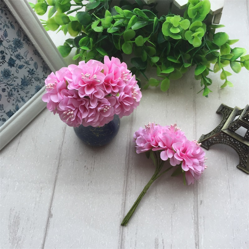 6pcs Silk Stamen Artificial Flower Bouquet For Wedding And Party Decoration