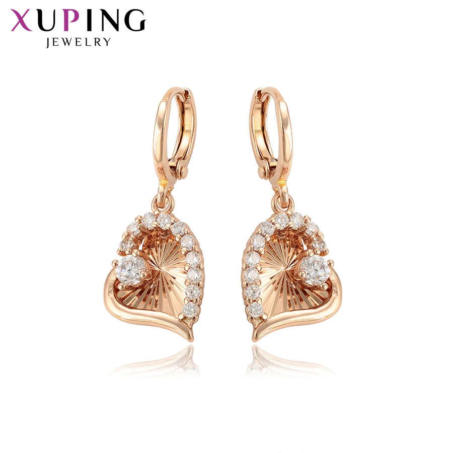 11.11 Deals Xuping Romantic Heart Shaped Earrings Charm Style Eardrops for Women Jewelry Valentines Day Thanksgiving Gift 97126