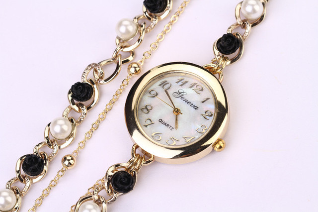 Casual chic leather Paradise 2018 New classic look Women Faux Pearl Flower Chain Bracelet Wrist Analog Quartz Dial Watch