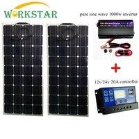 2*100 Вт гибкие солнечные панели с 20A контроллер и 1000 Чистая синусоида Инвертор 200 солнечной системы для начинающих RV/лодка