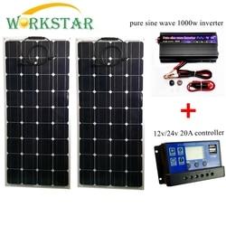 2*100 W paneles solares flexibles con 20A controlador y 1000 W inversor de onda sinusoidal pura 200 W Solar sistema para principiantes para RV/barco