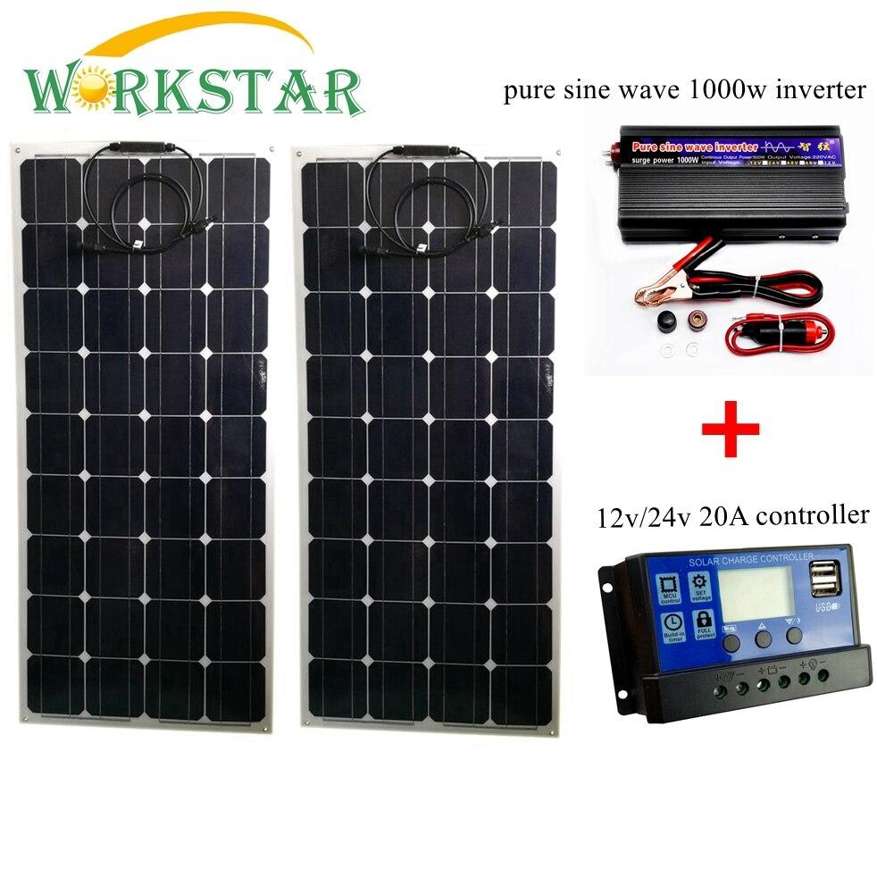 2*100 w Pannelli Solari Flessibili con 20A Controller e 1000 w Onda Sinusoidale Pura Inverter 200 w Solare sistema per Principianti per CAMPER/barca