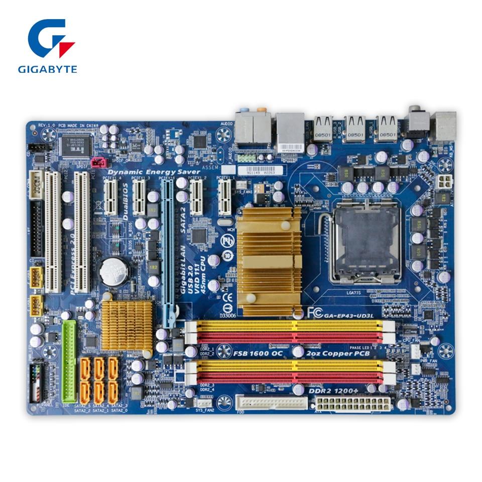 Original Gigabyte GA-EP43-UD3L Desktop Motherboard EP43-UD3L P43 Socket LGA 775 DDR2 ATX 100% Fully Test original gigabyte ga 945plm ds2 desktop motherboard 945plm ds2 945pl lga 775 ddr2 micro atx 100% fully test