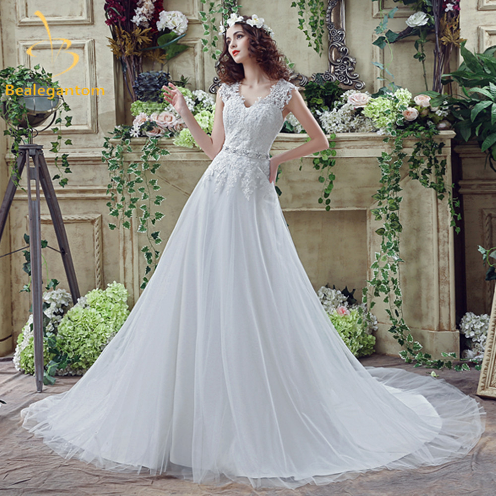 Bealegantom 2017 New White Lace font b Wedding b font Dresses With Appliques Beading font b