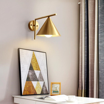 Northern Europe Copper Bedroom Bedside LED Wall Lamp Modern Minimalism Living Room Aisle Deco Wall Lights Fixture