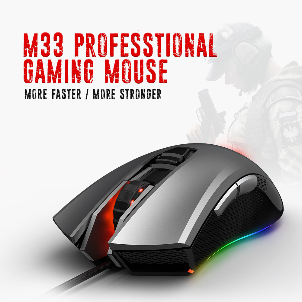 HEXGEARS M33 Professional Gaming Mouse Wired RGB Backlit 5000DPI Mouse Gamer Mice 6 Button Mause Muis USB Computer Mouse Laptop sunsonny t m30 usb wired 6 button 600 1000 1600dpi adjustable led gaming mouse golden red