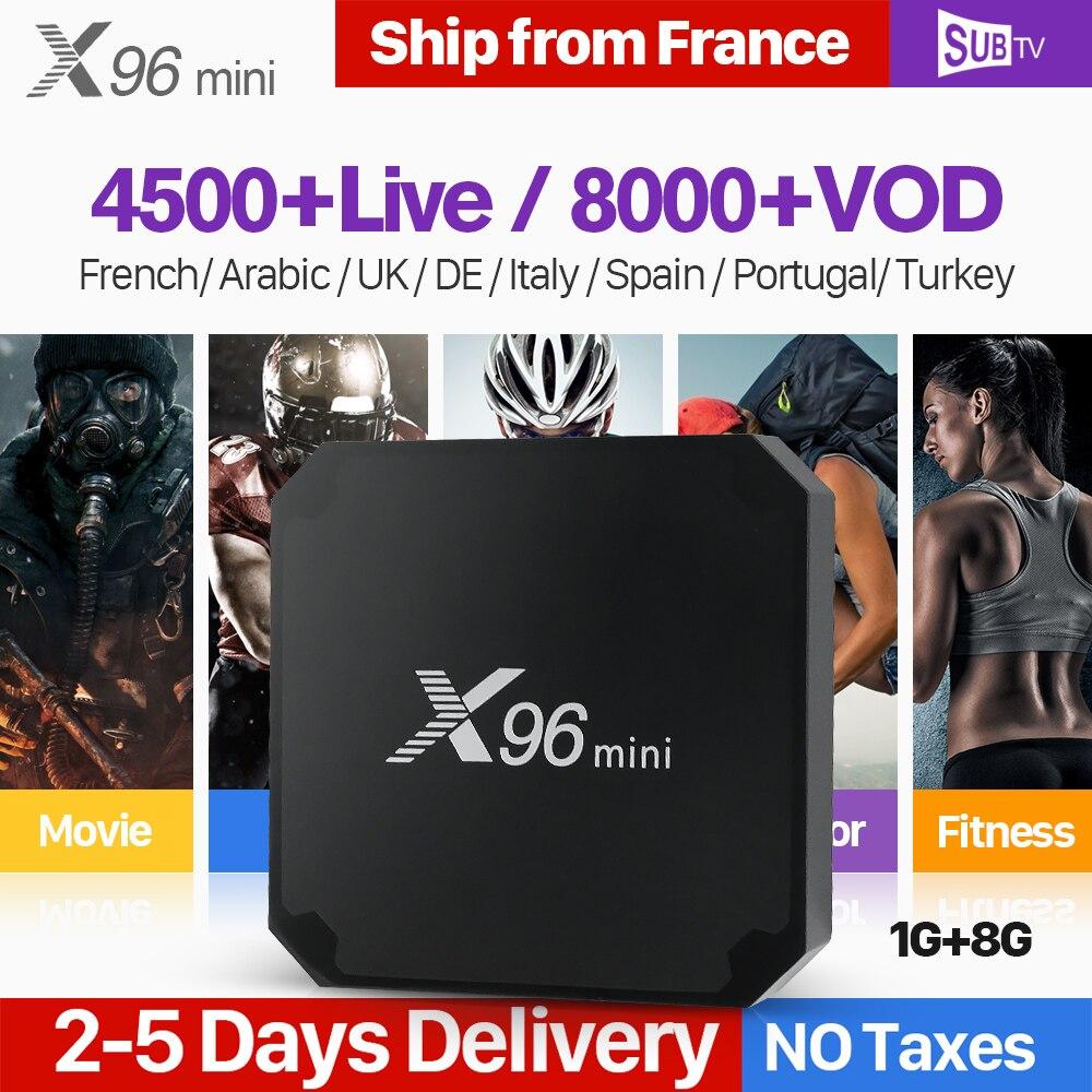 X96 mini IPTV Francia Android 7.1 Astuto di WIFI 4 k H.265 IPTV Media Player X96mini 1 Anno SUBTV Codice Francese belgio Arabo IPTV Box
