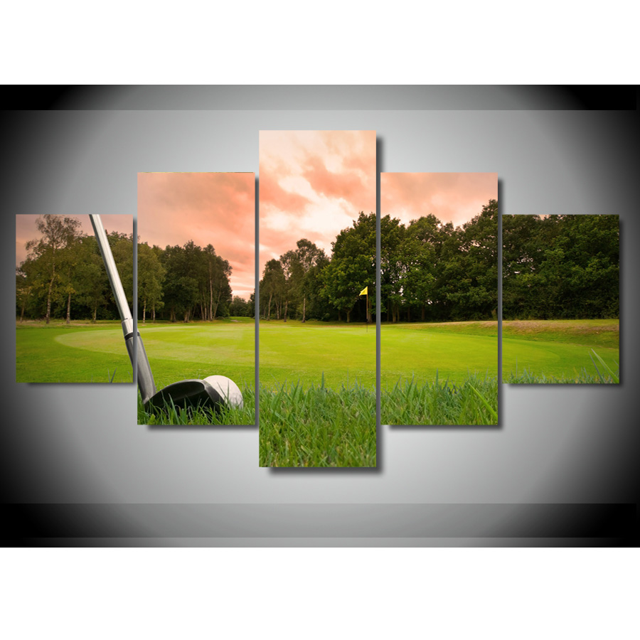5 Pieces Print Custom Canvas room decor wall art HD golf picture canvas for  living room