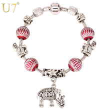 U7 Tibetan Silver Color Bracelet Trendy Vintage DIY Beads Jewelry Wholesale Cute Elephant Charms Bracelet For