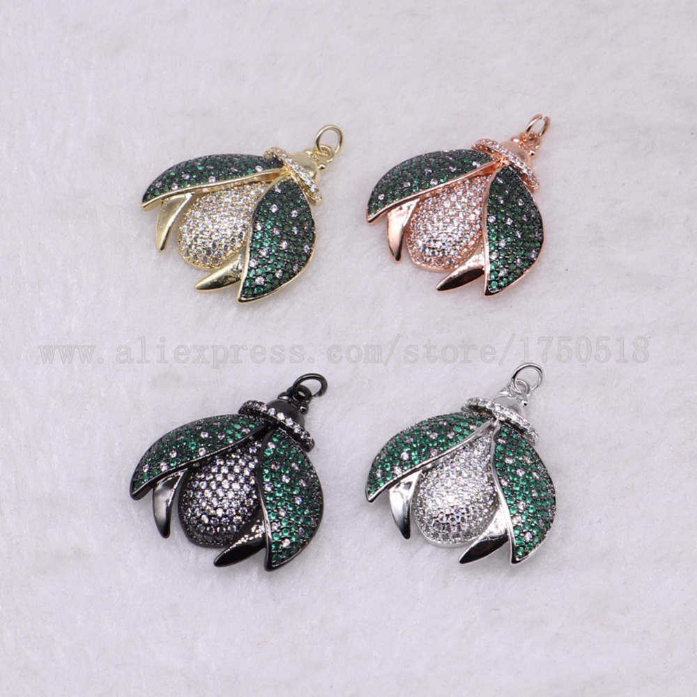 5 pieces bugs pendants green wing bee for lady charm ladybugs jewelry making micro paved mix color pendants pets beads 3282