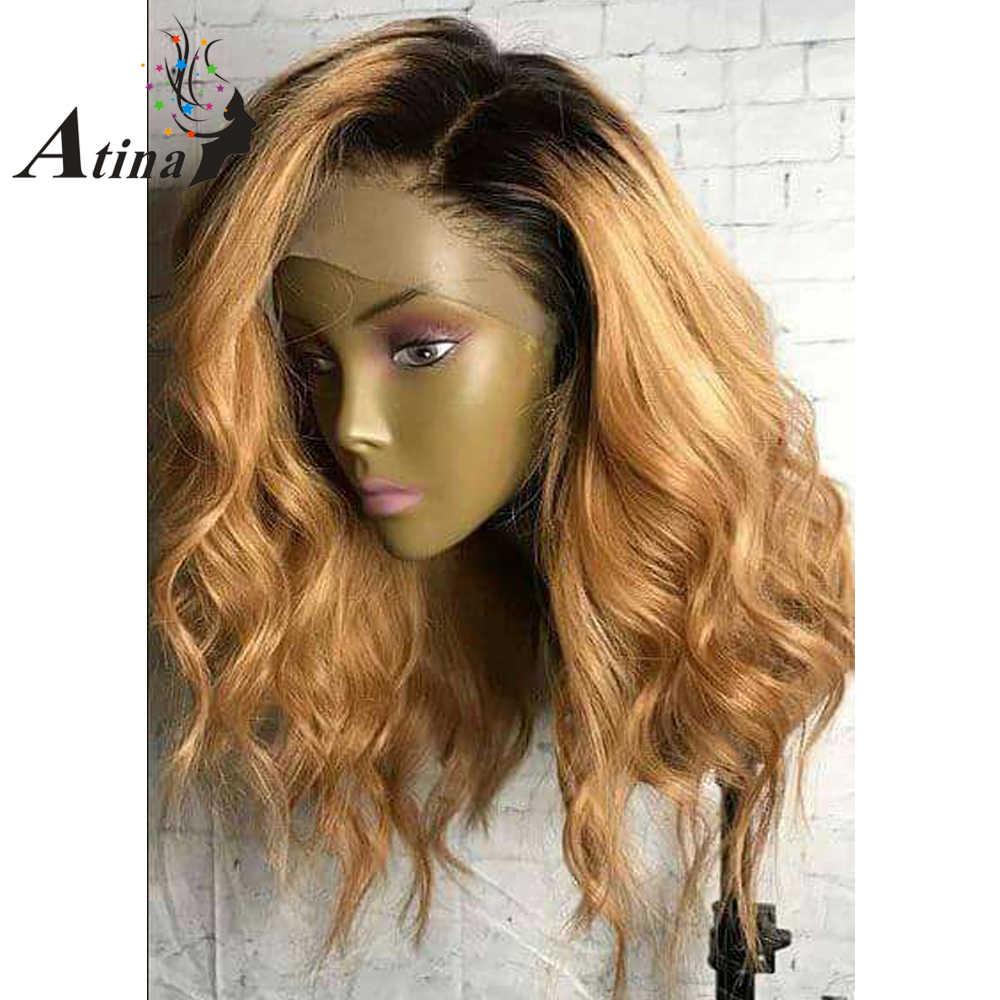 Медовый блонд, парики из натуральных волос, 250% плотность, короткие, Омбре, волнистые, человеческие волосы, remy, девственные, бразильские, 1BT27, темный корень