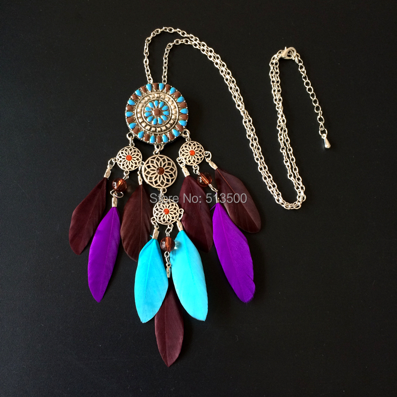 Jewelry Necklace Indian North American Native Feather Dream Catcher Necklaces