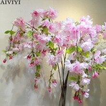 Hohe qualität 4 gabel vertikale seide reich kirschblüte künstliche blume kirsche blossom bouquet hochzeit dekoration DIY kirsche