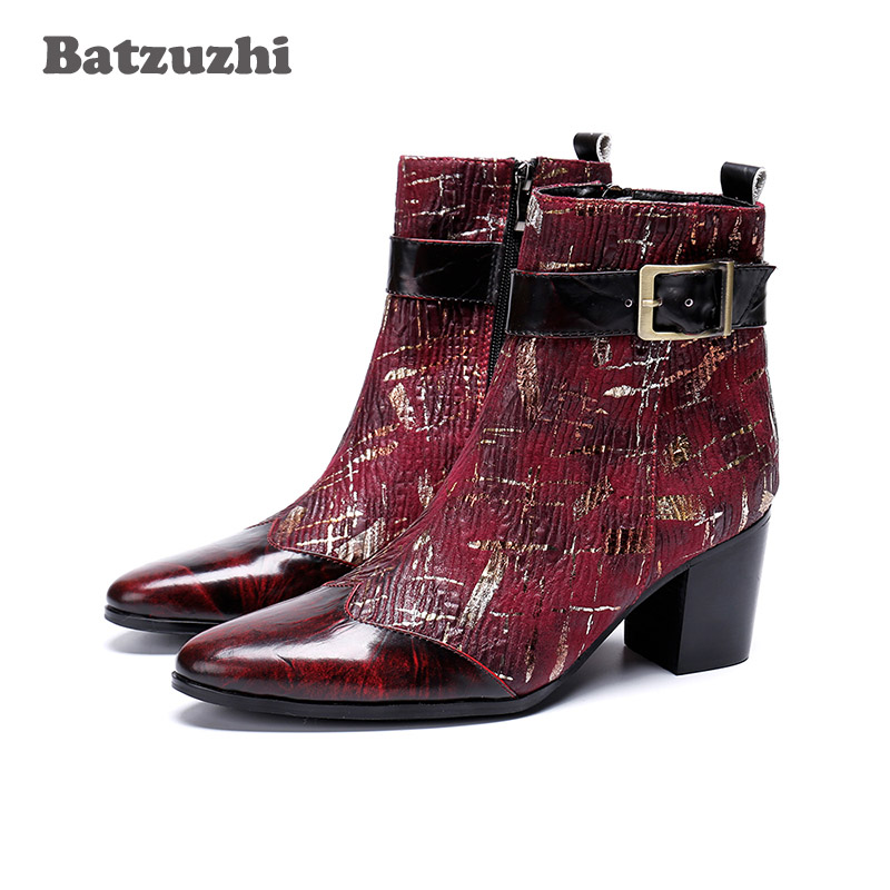Batzuzhi 7cm High Heels Men Boots Wine Red/Black Party And Wedding Ankle Boots Men Pointed Toe Botas Hombre, Big Sizes 38-46