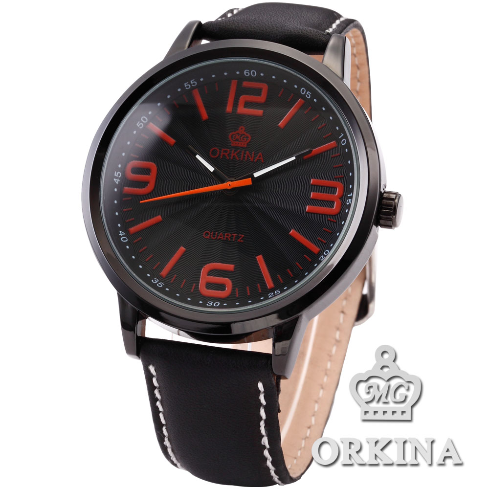 Orkina Big Case Orange Quartz Wristwatch with Black Leather and James Bond Nylon Strap Watchband patons fab big neon orange 8279