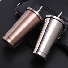 Car Coffee Thermos Mug Creative Vacuum Flasks Home Kitchen Insulated Travel Drink Bottle For with Straw 500ml
