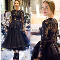 Ulyana Vintage Sheer Long Sleeves Tea Length Formal Evening Prom Dresses