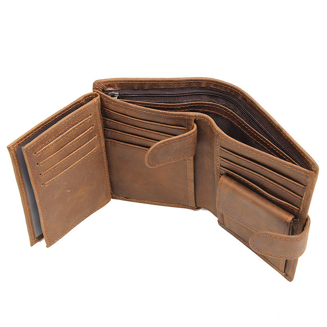 High Quality Real Cow Leather Wallet Short Wallet Men's Credit Card Holder Billfolds Pouch Men's Purse R-8129