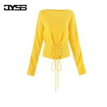 JYSS casual autumn fall new bright yellow women sweaters long-sleeved waist elastic waist belt lady girl crocheted sweater 81138