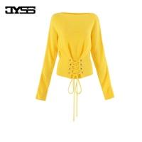 Jyss regalo de San Valentín nuevo amarillo brillante mujeres suéteres de manga larga elástico cintura señora Girl ganchillo suéter 81138