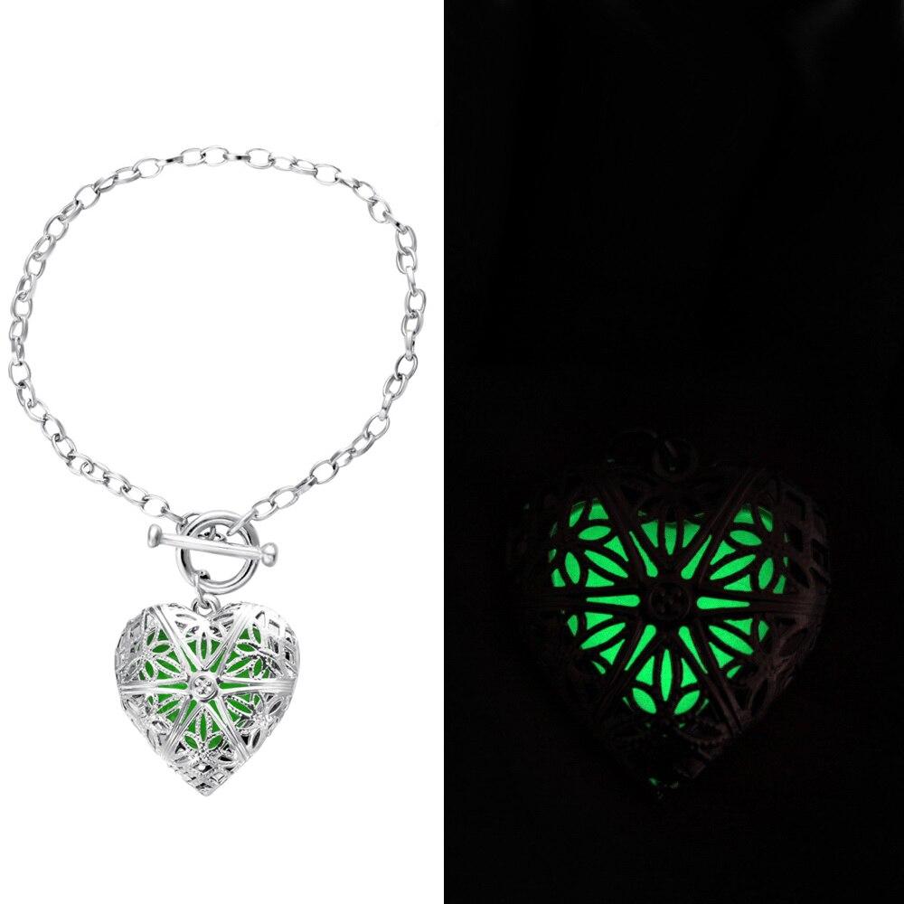 Hot Blue Glowing Bracelet Silver Glow In The Dark Gifts For Her Jewelry Bracelets Women Chain Link From