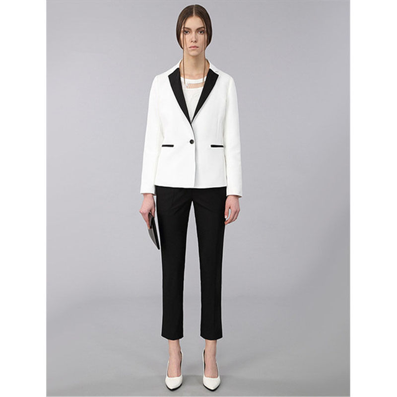 The fashion Pants suit custom Black Lapel Women Lady White Tuxedos New Style Work Business Suits Legging Pants
