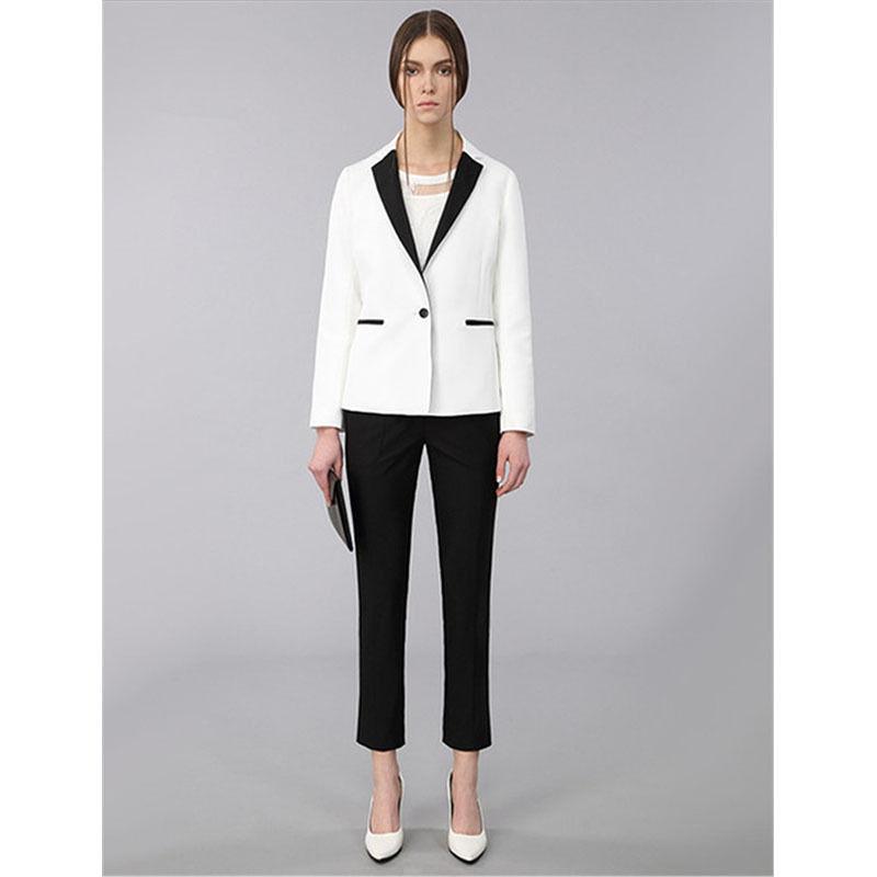The fashion Pants suit custom Black Lapel Women Lady White Tuxedos New Style Work Business Suits Legging Pants isaac mizrahi live new white women s 10p petite pull on legging pants $46 page 4