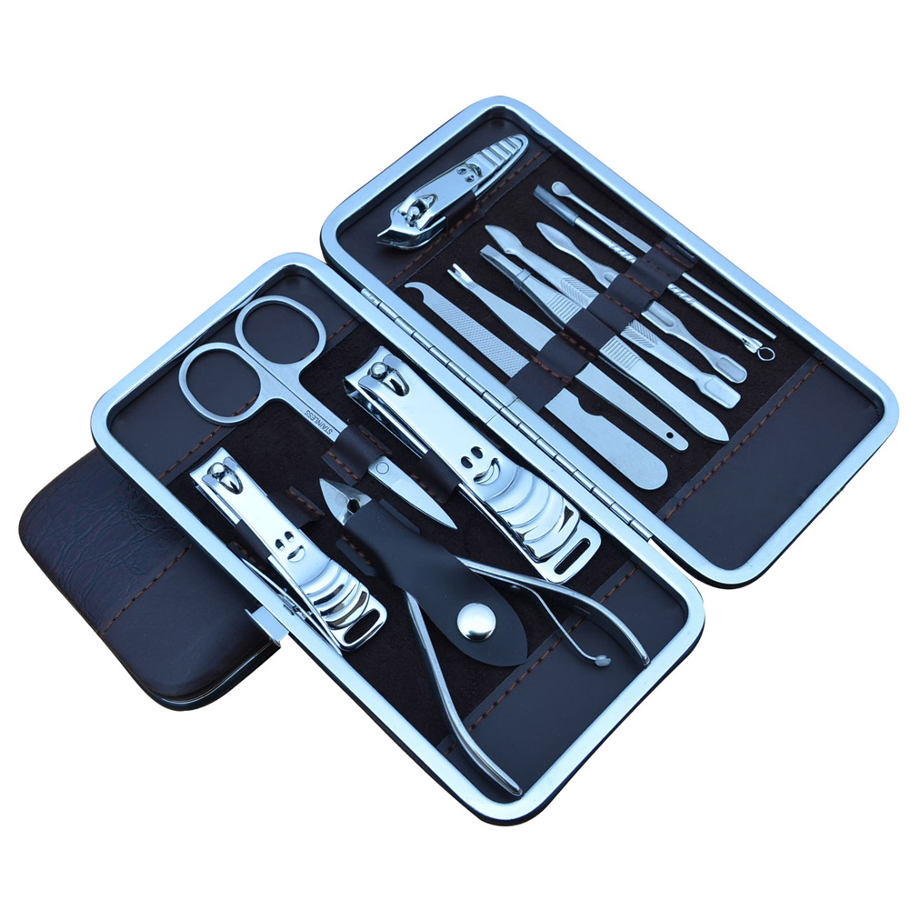 New Fashion Manicure Pedicure Set With Case Nails Clipper Kit Stainless Steel Travel Home Nail Care Tools 12 Pcs  88 8 W