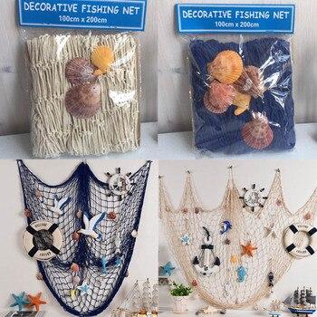 Photo Props    Big Fishing Net Shell Float   Wall Hangings  Wall Stickers Decoration Nautical Fishing Mesh