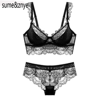 2017 summer female lingerie sexy lace bras Red gather push up women underwear bra set girl transparent lace bra and panty set