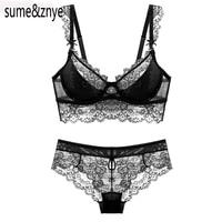 Hot Sale 2016 Summer Sexy Lace Bra Brief Sets Loita Bra Set Girl Ultra Thin Push