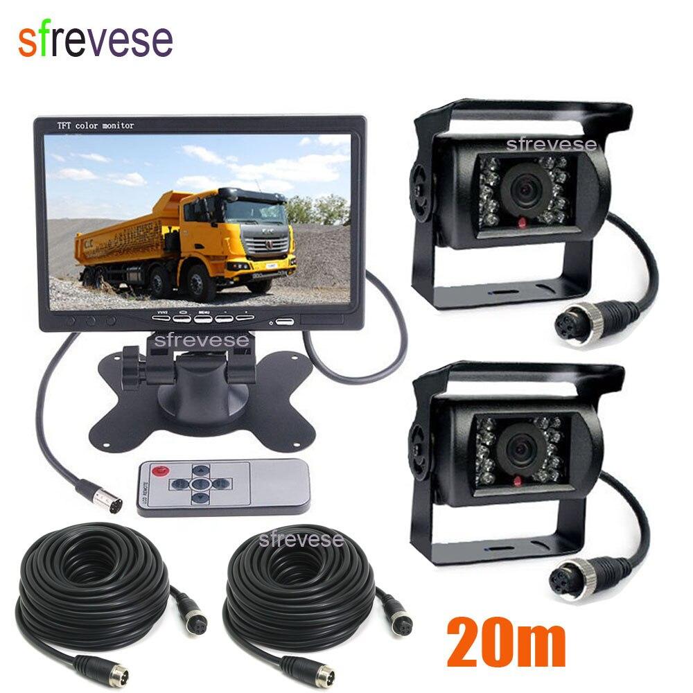 12 v-24 v 4Pin Voiture Vue Arrière de Bus Kit 7 Moniteur LCD + 2x CCD IR Nuit imperméable à l'eau de Vision de Recul Caméra De Recul 20 m Câble