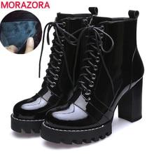 Nave di goccia 2020 di modo genuino di cuoio della caviglia stivali lace up della piattaforma tacchi alti stivali stivali da neve dinverno in pelle verniciata della signora scarpe