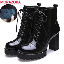 drop ship 2020 fashion genuine leather ankle boots lace up high heels platform boots patent leather winter snow boots lady shoes