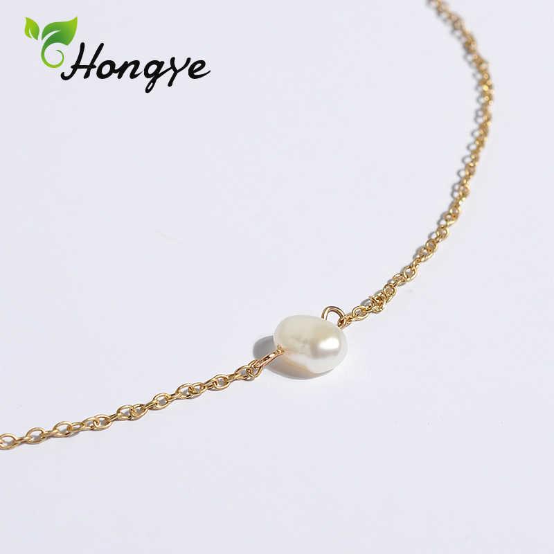 Hongye الذهب اللون سبيكة سلسلة عنق المختنق موضة كلاسيكي طوق مجوهرات لؤلؤ مستزرع في الماء العذب قلادة قلادة هدية لفتاة