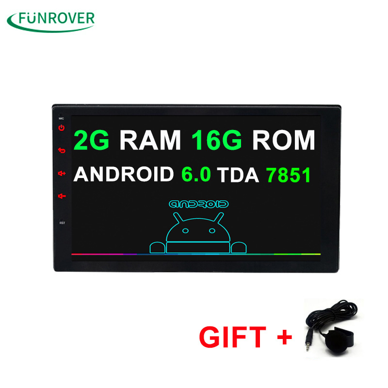 2G+16G Universal 2 din Android 6.0 Car DVD player GPS+Wifi+Bluetooth+Radio+Quad Core 7 inch 1024*600 screen car stereo radio FM android 5 1 car radio double din stereo quad core gps navi wifi bluetooth rds sd usb subwoofer obd2 3g 4g apple play mirror link