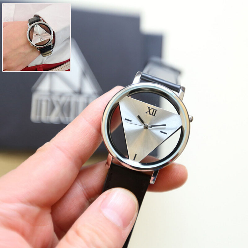 Fashion High Quality Mens Womens Watches Unique Hollowed-out Triangular Dial Black Fashion Wrist Watch Dropshipping Hot Clock