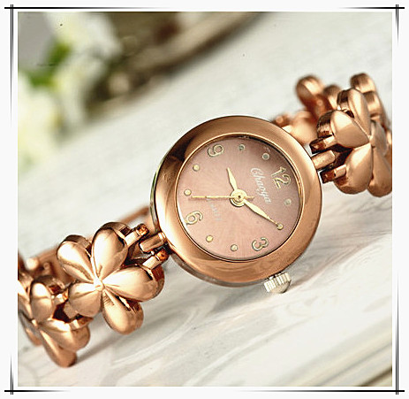 New Women Watches Female Quartz Analog Wristwatch Rose Gold Color Flower Bracele