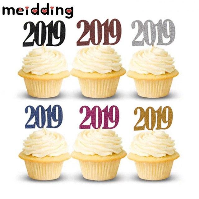 Meidding 12 Piezas Glitter 2019 Topper Cupcake Topper Fiesta De